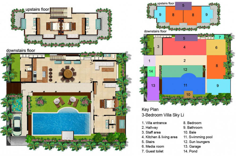 floorplan seminyak villa - 3 bedrooms villa